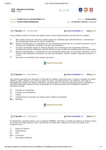 MERCADO DE CAPITAIS   AVALIANDO APRENDIZADO 1 A 10