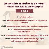 Classificação do Estado Físico de Acordo com a Sociedade Americana de Anestesiologistas (ASA)