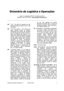 Dicionário de logística e operações