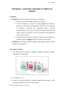 Detergentes e sanitizantes empregados na industria de alimentos