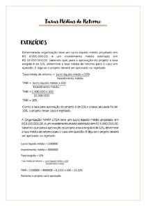 EXERCÍCIO Taxa Média de Retorno