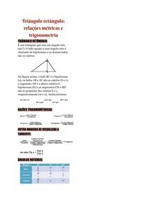Triângulo retângulo: relações métricas e trigonometria
