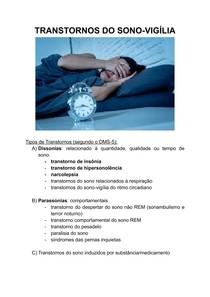 TRANSTORNOS DO SONO-VIGÍLIA - insônia, hipersonolência e narcolepsia