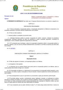 Lei nº 11.101 de 2005 da Falencia