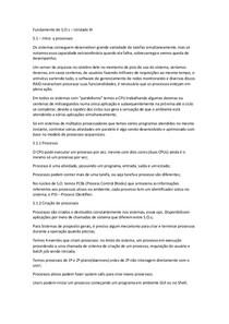 Fundamentos de Sistemas Operacionais - Unidade III - Resumo
