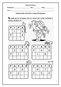 Alfabetização Atividades de Língua Portuguesa - Atividade com a letra P