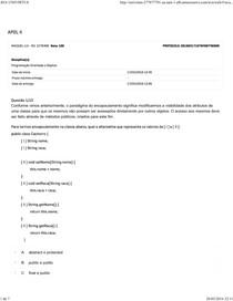 APOL4 - Programação Orientada a Objetos - Nota 100