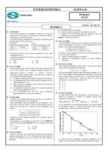 Exercicos de estequiometria - Questoes fechadas