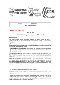 AD1 Gabarito Língua Portuguesa NA EDUCAÇÃO 2