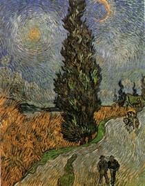 Vincent Willem van Gogh-Road-com-Cypress-e-Star