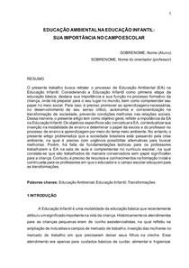EDUCAÇÃO AMBIENTAL NA EDUCAÇÃO INFANTIL