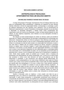 Reflexão - Antropologia e Psicologia