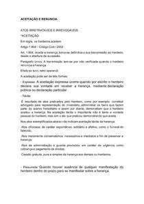 ACEITAÇÃO E RENUNCIA - direito das sucessões