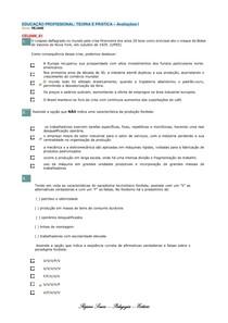 Avaliações I de 1 a 10 -  EDUCAÇÃO PROFISSIONAL: TEORIA E PRÁTICA