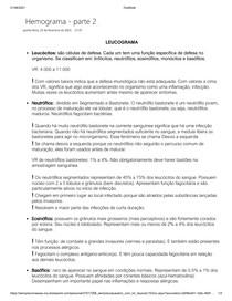 Hemograma Parte 2 - Leucograma - Resumo de Hematologia