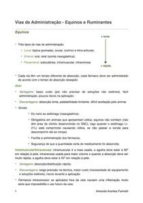 Vias de Administração - Equinos e Ruminantes (Resumo)