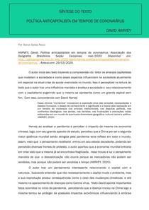 SÍNTESE DO TEXTO - Politíca anticapitalista em tempos de Coronavírus