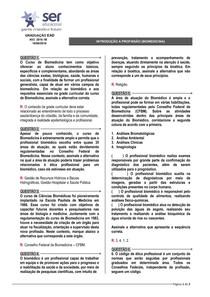 Introdução à Profissão (Biomedicina) - AV2 Presencial (Ser Educacional)