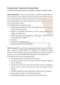 Direito Processual Penal - Sistemas do Processo Penal