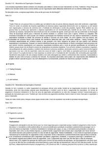 Prova Sistemática de Exportação e Drawback - TECNOLOGIA EM COMÉRCIO EXTERIOR - UNINTER