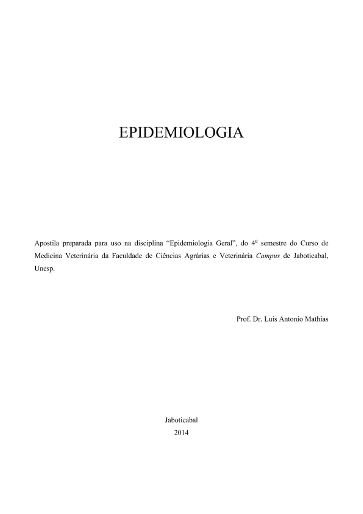 Pre-visualização do material Apostila Epidemiologia Veterinária - página 1