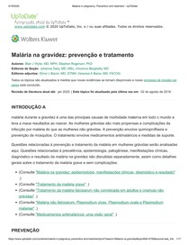 Malaria in pregnancy_ Prevention and treatment - UpToDate