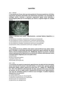 Síndromes hemorrágicas da 1ª metade da gestação: abortamento - Questões resolvidas
