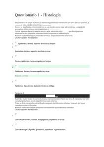 Questionário 1 histologia