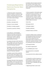 Exercícios de Fisioterapia Respiratória 50 questões