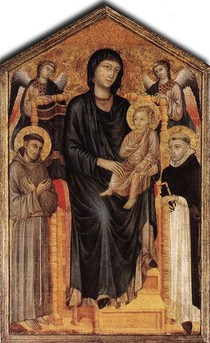 Giovanni Cimabue - Madonna Enthroned with the Child St Francis St Domenico
