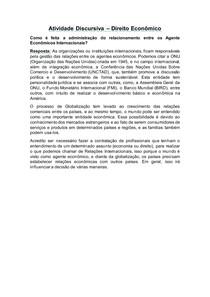Atividade Discursiva (Direito Econômico)