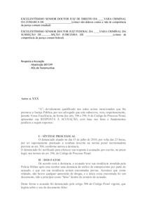 Modelo Resposta A Acusção E Defesa Preliminar Prática Jurídi