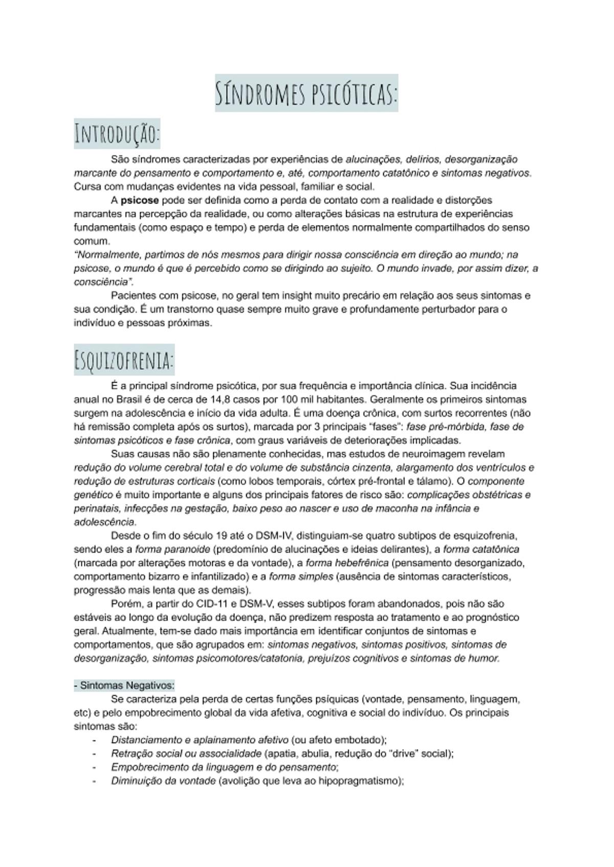 Pre-visualização do material Síndromes psicóticas (esquizofrenia) - página 1