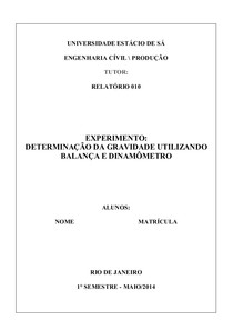 RELATÓRIO DE DETERMINAÇÃO DA GRAVIDADE UTILIZANDO BALANÇA E DINAMÔMETRO