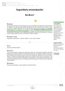 BOOTH, Ken. Seguridad y Emancipación. Relaciones Internacionales, n° 3, 2013.