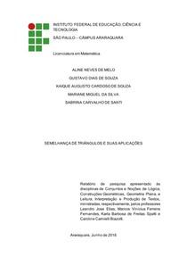 Relatório de Pesquisa - Semelhança de Triângulos e suas Aplicações
