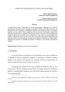 FABRICAÇÃO DE RESISTÊNCIA ELETRICA PARA CHUVEIROS