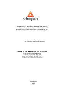 ARQUITETURA DE VON NEUMANN   TRABALHO MICROCONTROLADORES E MICROPROCESSADORES