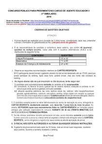 CONCURSO PÚBLICO PARA PROVIMENTO NO CARGO DE AGENTE EDUCADOR II(simulado-COMPLETO)