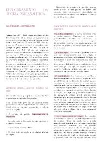 RESUMO DE DESDOBRAMENTO DA TEORIA PSICANALÍTICA