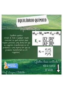 Equilibrio químico - Prof Inayara Bortoleto