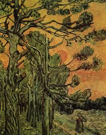 Vincent Willem van Gogh-pinheiros-contra-a-Red Sky-com-Ajuste-Sun