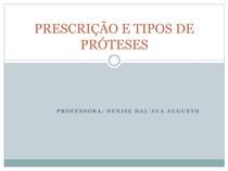 PRESCRIÃ+O E TIPOS DE PRËTESES