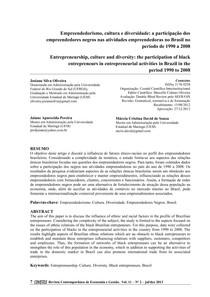 Empreendedorismo, cultura e diversidade a participação dos empreendedores negros nas atividades empreendedoras no Brasil no período de 1990 a 2008
