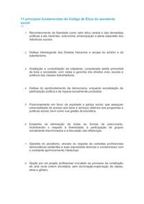 11 princípios fundamentais do Código de Ética do assistente social