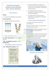 Evolução 2 - Teorias evolucionistas - resumo