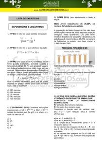 Exercícios - Exponenciais e logaritmos