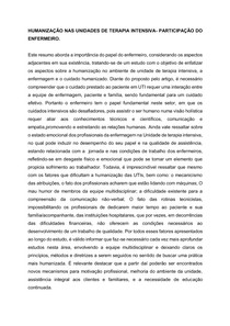 HUMANIZAÇÃO NAS UNIDADES DE TERAPIA INTENSIVA- PARTICIPAÇÃO DO ENFERMEIRO