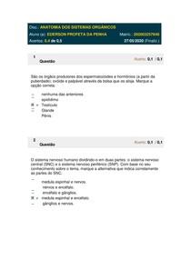 AVALIANDO O APRENDIZADO ANATOMIA ORGANICA