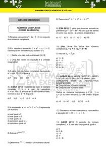 Lista de Exercícios - Números complexos (forma algébrica)